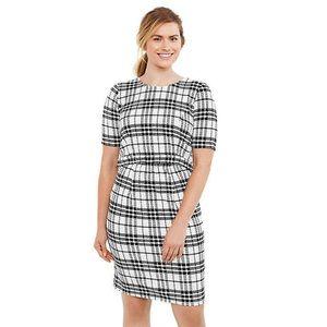 Motherhood Maternity Plaid Lift-Up Nursing Dress S